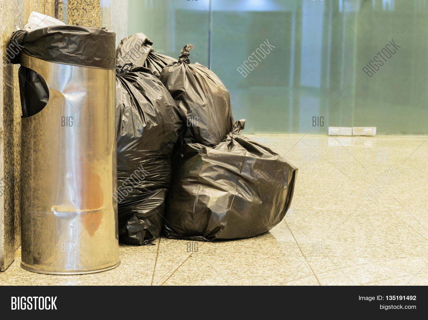 black bag of rubbish for environment background