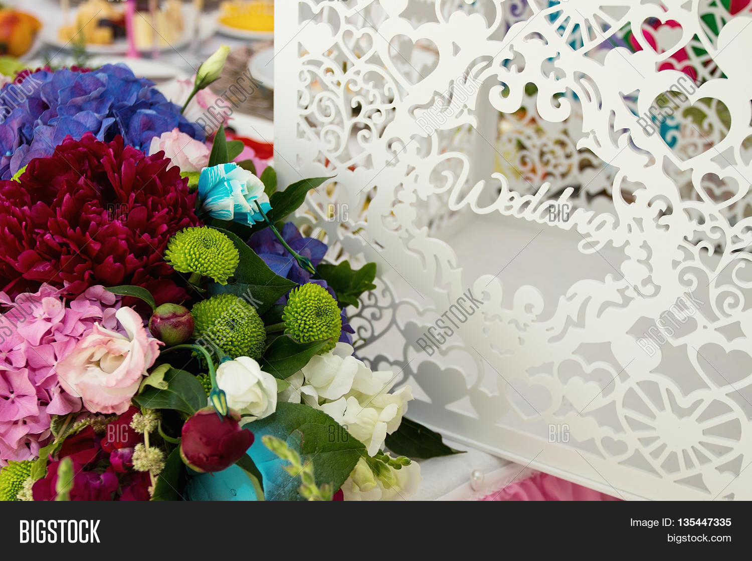 White purple flowers image photo free trial bigstock white and purple flowers wedding accessories wedding preparation decorated wedding table with flowers wedding flowers food izmirmasajfo