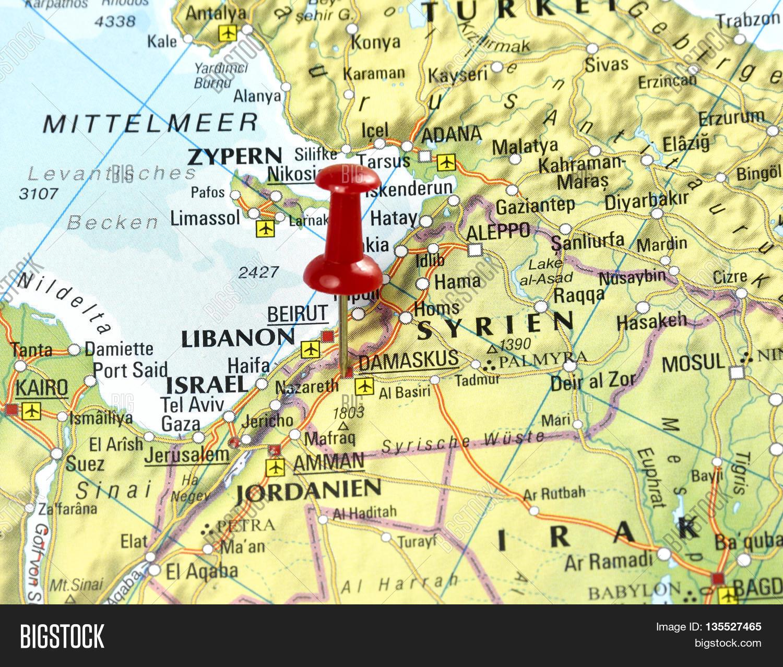 Map Pin Set On Damascus Syria Image Photo Bigstock