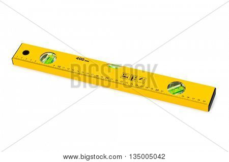 Construction level ruler isolated on white background poster
