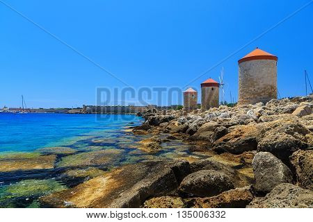 Mandraki Harbour windmills on the Island of Rhodes Greece