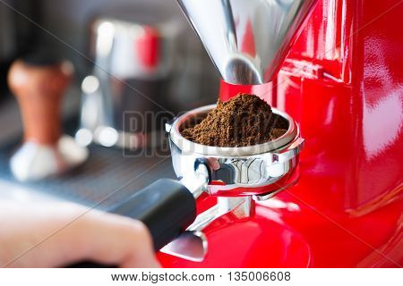 Coffee Grinder Grinding Freshly