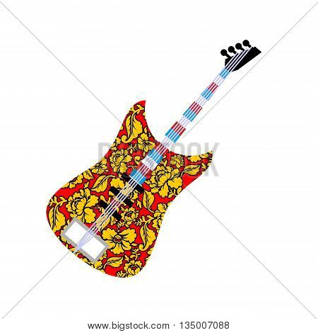 Russian national guitar. Musical instrument and traditional pattern Khokhloma. Russian flag on fretboard electric guitar