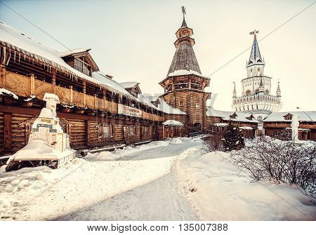 MOSCOW RUSSIA - January 26: Wooden architecture of Kremlin in Izailovo in winter in January 26 2013 in Moscow Russia