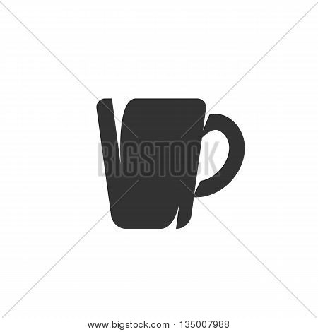 Vector mug icon on white background - stock vector