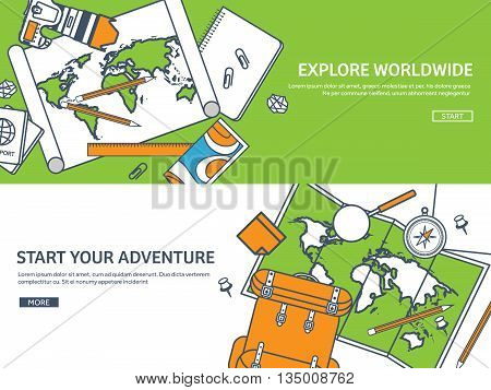 Travel and tourism. Flat style. World, earth map. Globe. Trip, tour, journey, summer holidays. Travelling, exploring worldwide. Adventure, expedition. Table, workplace. Traveler. Navigation or route planning. Lined.Lines