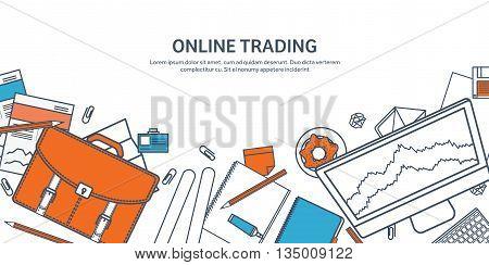 Vector illustration. Flat background. Market trade. Trading platform , account. Moneymaking, business. Analysis. Investing.Line art.Lined.