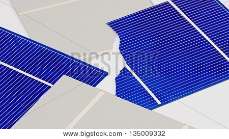 Broken solar panel cell parts background