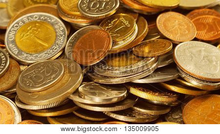 Golden different coins collection background