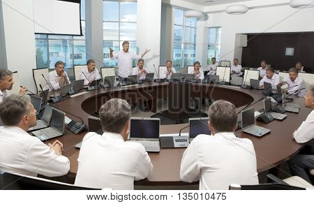 Meeting and discussion briefing. Business meeting, conference and meeting room, business presentation, office teamwork, team corporate, workplace discussing