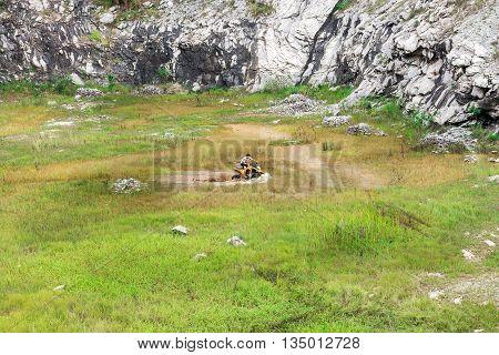 Man In Off Road Quad Bike Through A Mud Lake