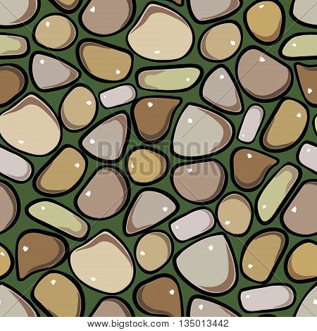 Seamless Pattern - Pebble cobblestone colorful vector pattern
