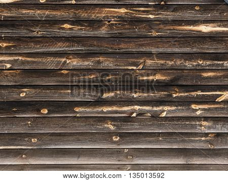 Old wooden background with horizontal boards. Dark braun colour.