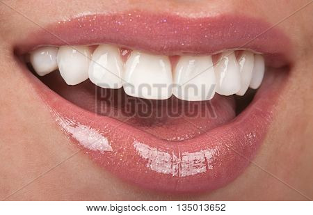 Healthy female mouth teeth and beautiful lips