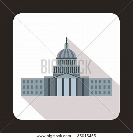 Capitol icon in flat style with long shadow. State symbol
