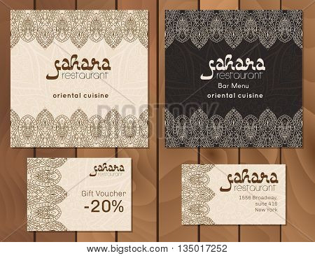 Vector illustration of a menu card template design for a restaurant or cafe Arabian oriental cuisine. Asian Arab and Lebanese cuisine. Business cards and vouchers. Hand-drawn traditional ornament
