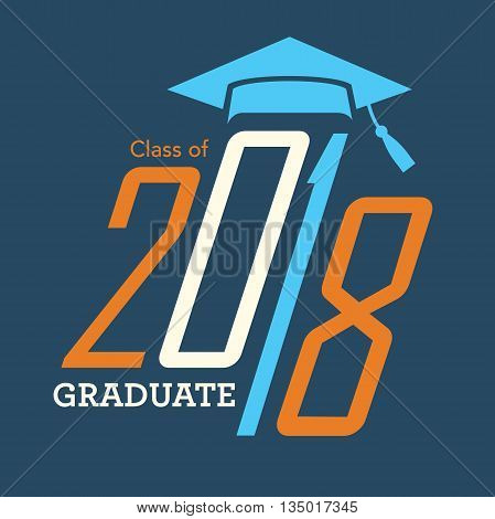 Orange and Blue Class of 2018 Graduate Vector Graphic with Graduation Cap and Tassel
