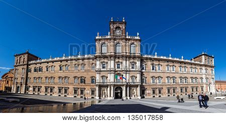 MODENA ITALY - APRIL 27 2016: Ducal Palace of Modena was the residence of the Este Dukes of Modena between 1452 and 1859. It currently houses the Italian Military Academy.