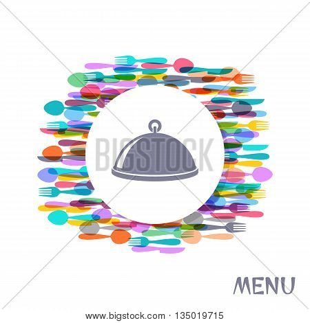 Restaurant menu cover design with colorful cutlery signs