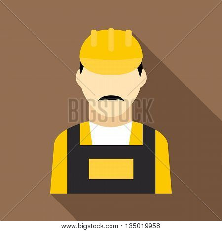 Oilman icon in flat style with long shadow