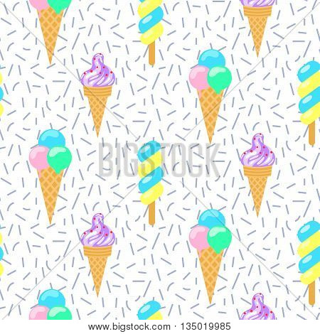Ice cream vector seamless pattern. Summer ice dessert collection. Waffle cone, popsicle and sundae ice-cream for wrap and textile on shavings background.
