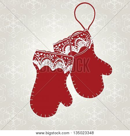 Winter card with red gloves on snowflakes background. Vector