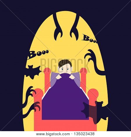 Children's fears. Vector illustration Night children's fears. Child in bed afraid at night. Common childhood fears