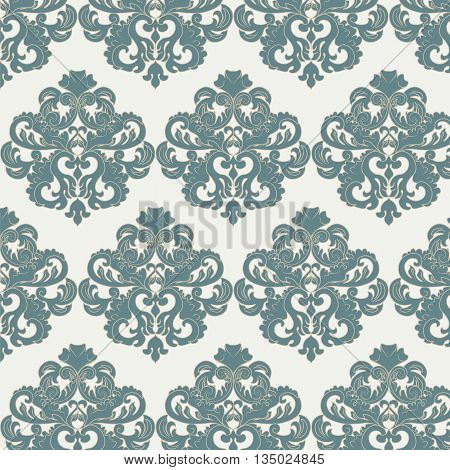 Damask royal ornament pattern in green color. Vector