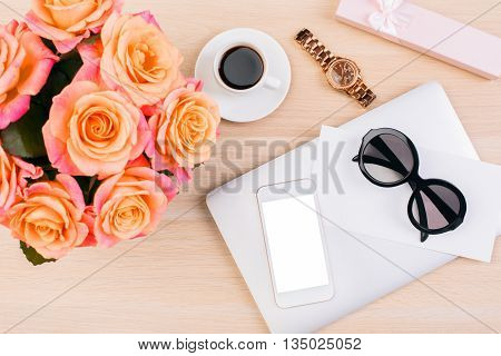 Phone, Watch, Glasses On Desktop