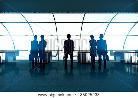 Businesspeople silhouettes in bright office interior with panoramic windows. Concept of partnership and teamwork. 3D Rendering