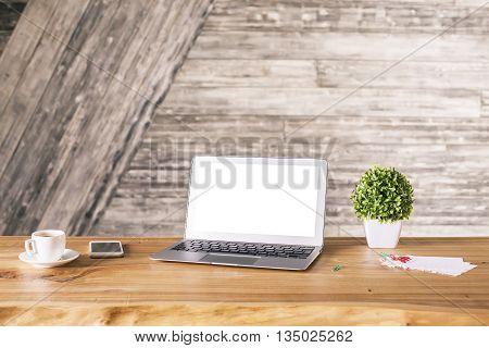 Creative Desktop With White Notebook
