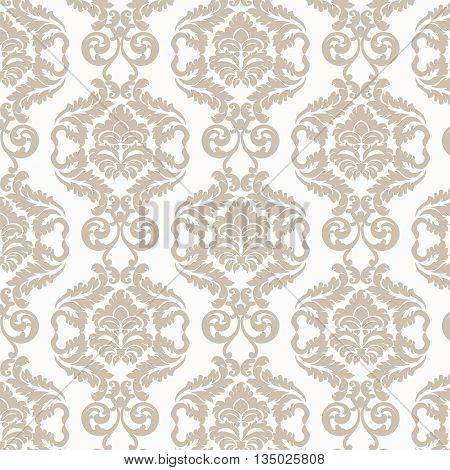Damask luxury ornament pattern in beige. Vector illustration
