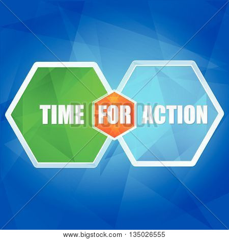 time for action - business motivation concept words in color hexagons over blue background, flat design, vector