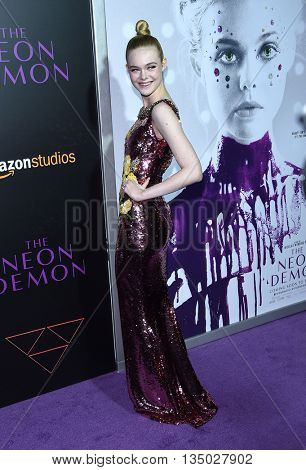 LOS ANGELES - JUN 14:  Elle Fanning arrives to the 'The Neon Demon' Hollywood Premiere  on June 14, 2016 in Hollywood, CA.