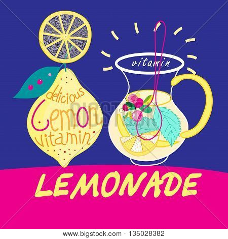 Beautiful vector illustration with carafes of delicious drink lemonade