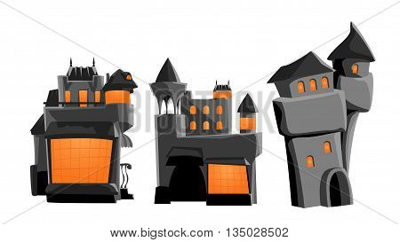 illustration of set of three grey color different castles on white background