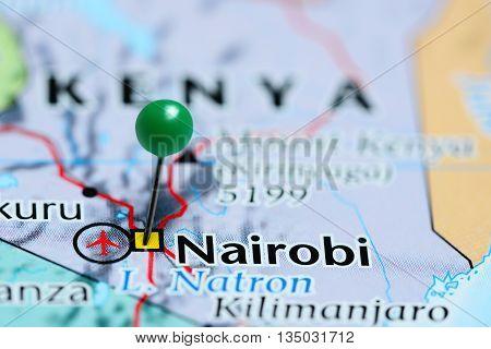 Nairobi pinned on a map of Kenya