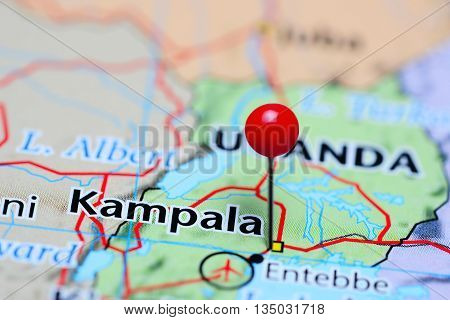 Kampala pinned on a map of Uganda