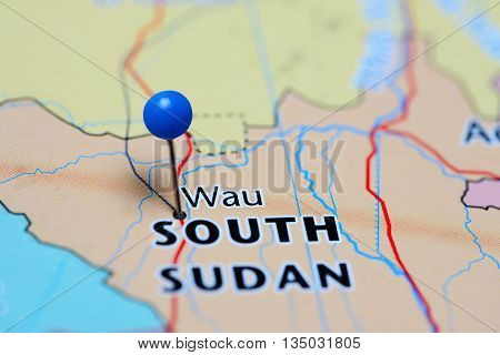 Wau pinned on a map of South Sudan
