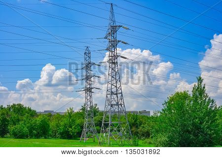 Electric power high voltage transmission line pylon tower