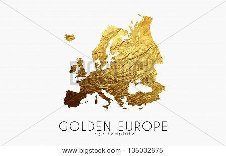 Europe map. Golden Europe logo. Creative Europe logo design