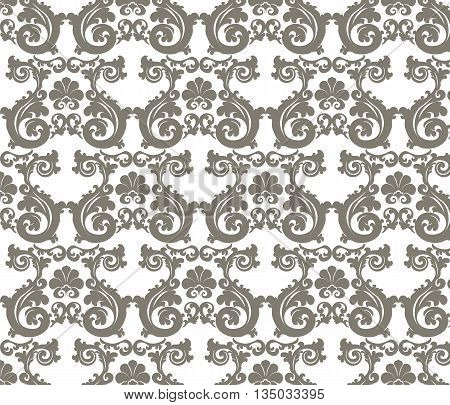 Romanesque stylized ornament pattern in beige. Vector poster