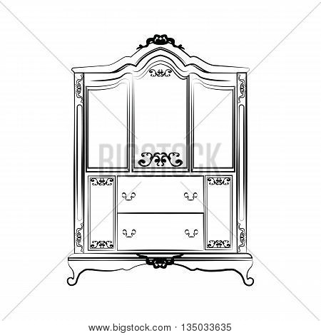 Classic royal ornamented glass case closet furniture. Vector