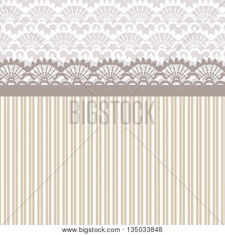 Vintage Lace crochet card in beige color. Vector