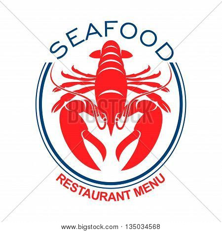 Giant red lobster symbol in double blue oval frame for design of seafood restaurant menu and lobster bib print