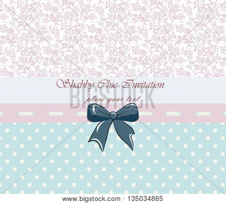 Shabby chic lace invitation with bow. Vector