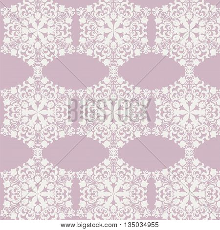 Lace ornament pattern background in white color. Vector