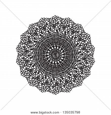Lace embroidery round ornament in black and white. Vector