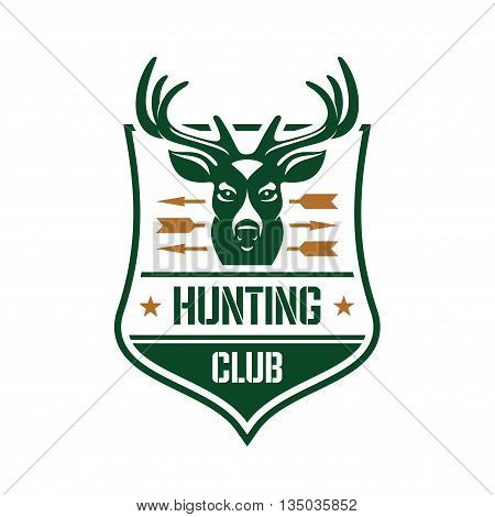 Hunting club heraldic badge design. For association of hunters or sporting club design with a head of a red deer stag pierced by arrows on a shield