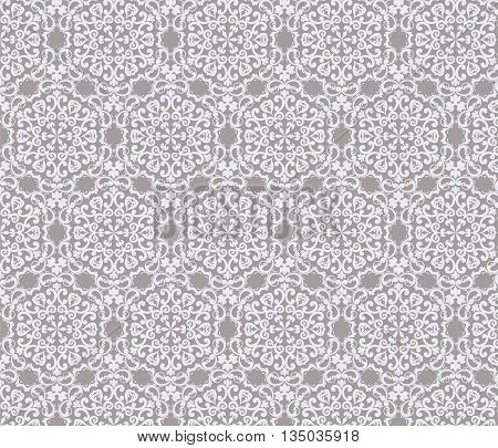 Vintage stylized ornament pattern in gray. Vector